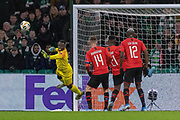 Rennes Keeper Edouard Mendy (16) makes a save during the Europa League match between Celtic and Rennes at Celtic Park, Glasgow, Scotland on 28 November 2019.