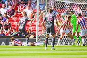 Leeds United midfielder Mateusz Klich (43) shot is saved by Stoke City goalkeeper Adam Federici (32) during the EFL Sky Bet Championship match between Stoke City and Leeds United at the Bet365 Stadium, Stoke-on-Trent, England on 24 August 2019.