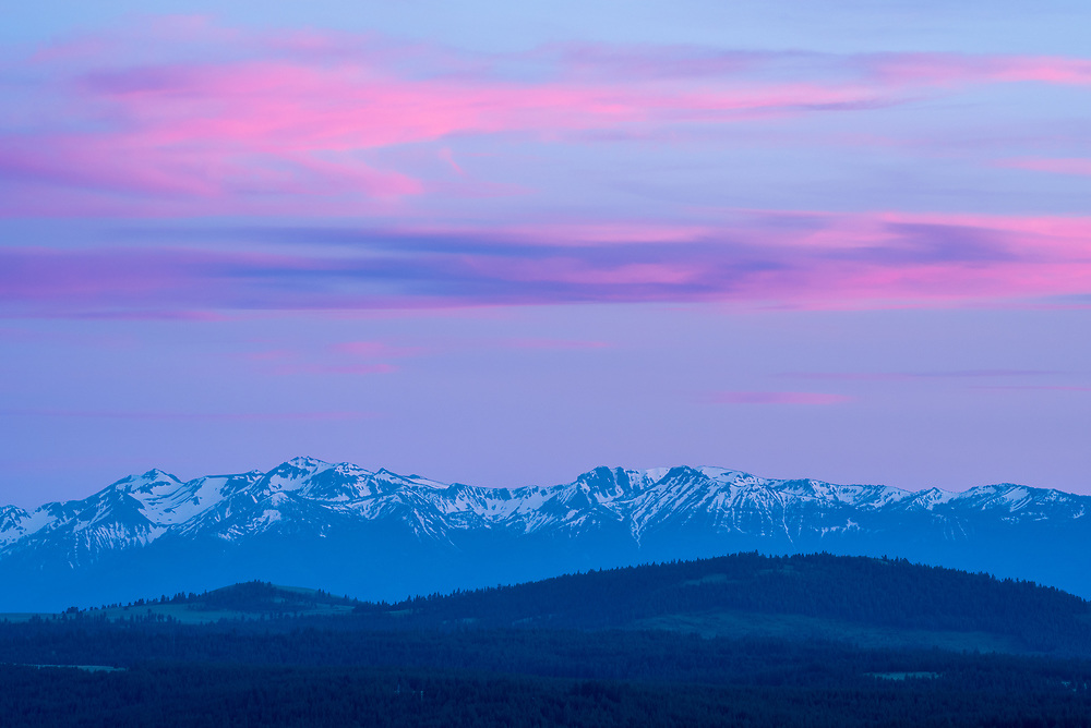 Wallowa Mountains at sunset, Northeast Oregon.