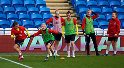 CARDIFF, WALES - Thursday, November 23, 2017: Wales' Natasha Harding and Nadia Lawrence during a training session ahead of the FIFA Women's World Cup 2019 Qualifying Round Group 1 match between Wales and Kazakhstan at the Cardiff City Stadium. (Pic by David Rawcliffe/Propaganda)