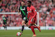 Divock Origi (Liverpool) during the Barclays Premier League match between Liverpool and Stoke City at Anfield, Liverpool, England on 10 April 2016. Photo by Mark P Doherty.