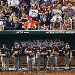 Jun 25, 2013; Omaha, NE, USA; Mississippi State Bulldogs looks on from the dugout during the sixth inning in game 2 of the College World Series finals against the UCLA Bruins at TD Ameritrade Park. Mandatory Credit: Derick E. Hingle-USA TODAY Sports