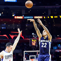 09 November 2015: Memphis Grizzlies forward Matt Barnes (22) takes a jump shot over Los Angeles Clippers guard J.J. Redick (4) during the Los Angeles Clippers 94-92 victory over the Memphis Grizzlies, at the Staples Center, in Los Angeles, California, USA.
