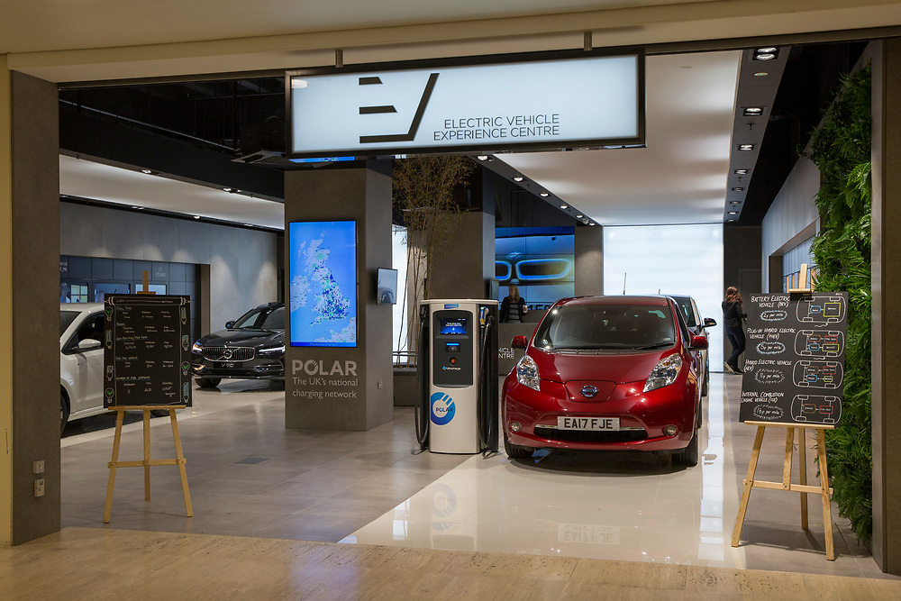 The Electric Vehicle Experience Centre inside a shopping centre on Crown Walk, Milton Keynes, United Kingdom. Chargemaster make and install the charging points in the UK through their POLAR Network, which gives access to over 6,000 charging points. (photo by Andrew Aitchison / In pictures via Getty Images)