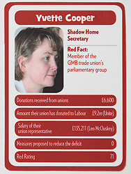 "© Licensed to London News Pictures . 29/09/2013 . Manchester , UK . Yvette Cooper . "" Top Trumped by the Unions "" cards handed out at the Conservative Party Conference . The Conservative Party Conference at Manchester Central . Photo credit : Joel Goodman/LNP **FULL PACK OF 40 TRUMP CARDS AVAILABLE ON REQUEST**"