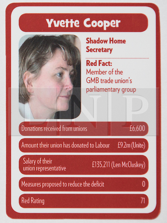 """© Licensed to London News Pictures . 29/09/2013 . Manchester , UK . Yvette Cooper . """" Top Trumped by the Unions """" cards handed out at the Conservative Party Conference . The Conservative Party Conference at Manchester Central . Photo credit : Joel Goodman/LNP **FULL PACK OF 40 TRUMP CARDS AVAILABLE ON REQUEST**"""