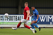 AFC Wimbledon Kyron Stabana (14) with a shot on goal during the Pre-Season Friendly match between AFC Wimbledon and Bristol City at the Cherry Red Records Stadium, Kingston, England on 9 July 2019.