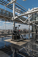 France. Paris the outside gallery of the musee beaubourg, level 5. sculpture of Max Ernst, Capricorne,