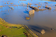 Nederland, Gelderland, Gemeente Voorst, 20-01-2011. Bandijk van de IJssel bij hoogwater, ter hoogte van Terwolde.Winter dike (bottom) at high water of the river IJssel near Terwolde..luchtfoto (toeslag), aerial photo (additional fee required).copyright foto/photo Siebe Swart
