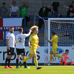TELFORD COPYRIGHT MIKE SHERIDAN GOAL. Joe Malkin of Nantwich scores to make it 1-0 during the National League North fixture between AFC Telford United and Nantwich Town on Saturday, September 21, 2019.<br /> <br /> Picture credit: Mike Sheridan<br /> <br /> MS201920-020