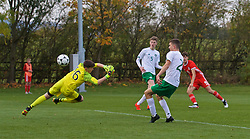 WREXHAM, WALES - Wednesday, October 30, 2019: Wales' Christopher Popov scores the second goal during the 2019 Victory Shield match between Wales and Republic of Ireland at Colliers Park. (Pic by David Rawcliffe/Propaganda)