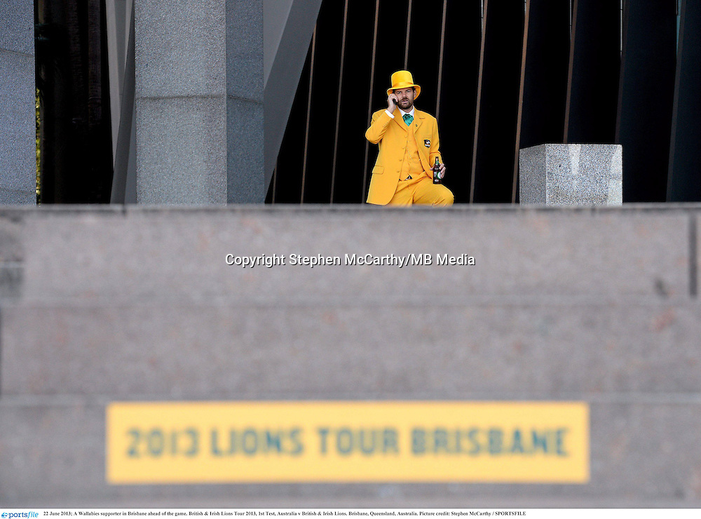 22 June 2013; A Wallabies supporter in Brisbane ahead of the game. British & Irish Lions Tour 2013, 1st Test, Australia v British & Irish Lions. Brisbane, Queensland, Australia. Picture credit: Stephen McCarthy / SPORTSFILE