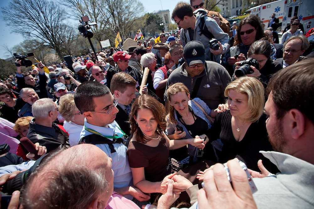 Rep. Michele Bachmann (R-MN) makes her way through a crowd of supporters at a Tea Party rally on Capitol Hill on Wednesday, April 6, 2011 in Washington. (Photo by Jay Westcott/Politico)