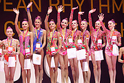 Team Russia celebrates the Gold Medal, during the 33rd European Rhythmic Gymnastics Championships at Papp Laszlo Budapest Sports Arena, Budapest, Hungary on 20 May 2017.  Photo by Myriam Cawston.