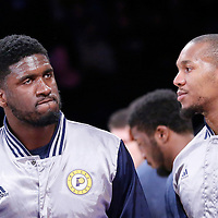 04 January 2014: Indiana Pacers center Roy Hibbert (55) is seen next to Indiana Pacers forward David West (21) during the players introduction prior to  the Los Angeles Lakers 88-87 victory over the Indiana Pacers, at the Staples Center, Los Angeles, California, USA.