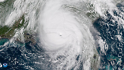 October 10, 2018 - Florida, U.S. - A satellite image from the National Oceanic and Atmospheric Administration shows Hurricane Michael off the U.S. Gulf Coast on Wednesday. Hurricane Michael made landfall in the Florida Panhandle as a strong Category 4 storm packs 155 mph winds on Wednesday, causing major damage in many beach towns. (Credit Image: © NOAA/ZUMA Wire/ZUMAPRESS.com)