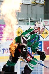 Damjan Dervaric (HDD Tilia Olimpija, #23) during ice-hockey match between HDD Tilia Olimpija and HK Acroni Jesenice in second game of Final at Slovenian National League, on April 3, 2011 at Hala Tivoli, Ljubljana, Slovenia. (Photo By Matic Klansek Velej / Sportida.com)