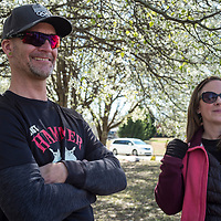WOODSTOCK, VA - MAR 4: Marcus and his ex-wife, Sarah Kavanaugh, smile as Ben steps on the podium after finishing 2nd in the opening stage time trial at the Tour of the Southern Highlands stage race on Saturday, Mar. 4, 2017 in Woodstock, Ga. (Photo by Jay Westcott/The News & Advance)