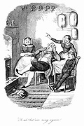 Rebellion below stairs - the servants too snug to answer the house bells at the first ring. Illustration by George Cruikshank (1792-1878) for the Brothers Mayhew 'The Greatest Plague of Life: or The Adventures of a Lady in Search of a Good Servant', London, c1840. Engraving.