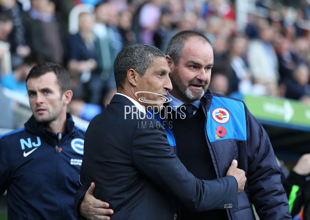 Reading first team manager Steve Clarke and Brighton Manager, Chris Hughton during the Sky Bet Championship match between Reading and Brighton and Hove Albion at the Madejski Stadium, Reading, England on 31 October 2015.