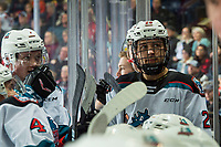 KELOWNA, BC - DECEMBER 27:  Conner McDonald #7 and Noah Dorey #28 of the Kelowna Rockets stand on the bench during a time out against the Kamloops Blazers at Prospera Place on December 27, 2019 in Kelowna, Canada. (Photo by Marissa Baecker/Shoot the Breeze)
