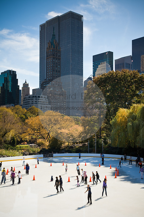 Ice skating at Wollman Rink in Central Park in New York City.