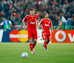 Athens, Greece - Wednesday, May 23, 2007: Liverpool's Steven Gerrard looks dejected after AC Milan scores the opening goal during the UEFA Champions League Final at the OACA Spyro Louis Olympic Stadium. (Pic by David Rawcliffe/Propaganda)