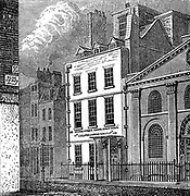 Isaac Newton's (1642-1727) house on corner of Orange and St Martin's Streets, London, as it appeared c1880. Wood engraving