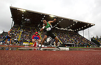Ashton Eaton throws during the shot put portion of the Decathlon during day 1 of the U.S. Olympic Trials for Track & Field at Hayward Field in Eugene, Oregon, USA 22 Jun 2012..(Jed Jacobsohn/for The New York Times)....