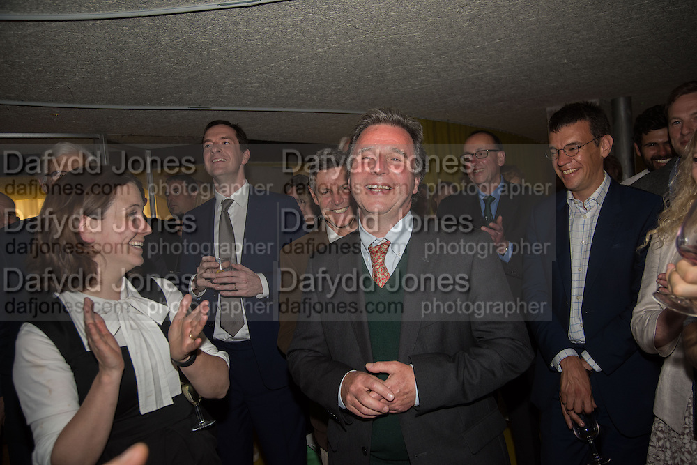 HAPPY BIRTHDAY TO OLIVER LETWIN, Launch of ' More Human',  Designing a World Where People Come First' by Steve Hilton. Party held at Second Home in Princelet St, off Brick Lane, London. 19 May 2015.