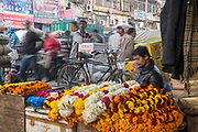 A marigold vendor focuses on his work as crowds pass by in Chandni Chowk, Old Delhi, India.