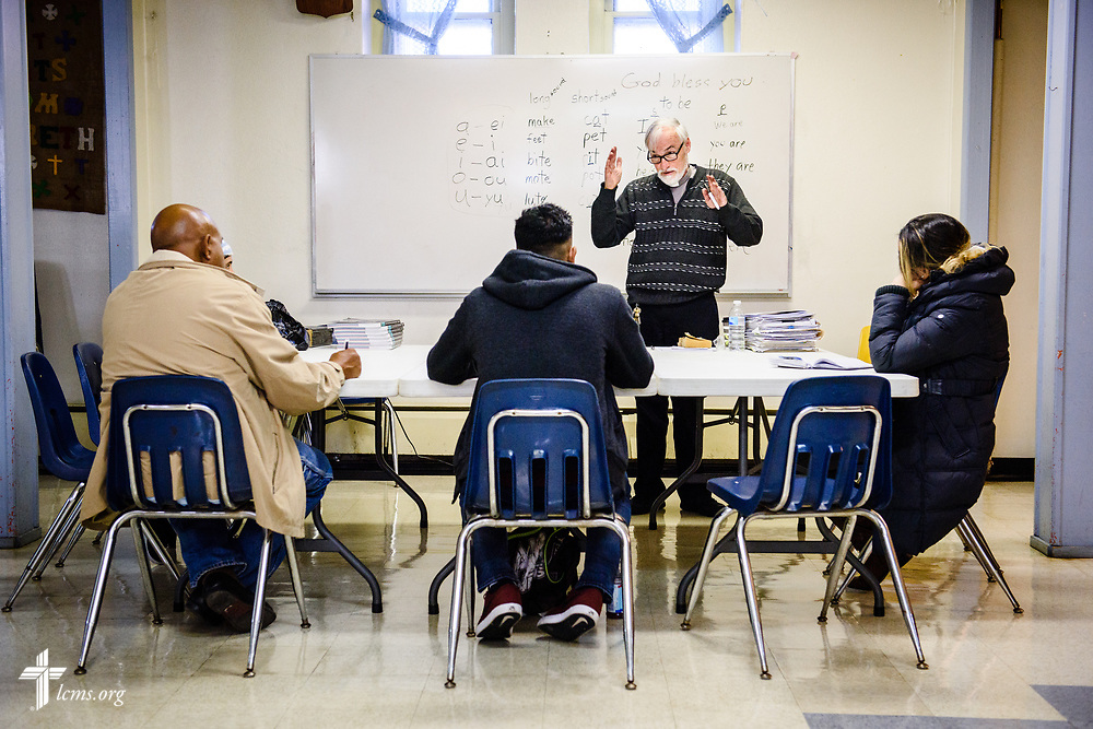 The Rev. Arthur Boone, pastor of Nazareth Lutheran Church, Baltimore, leads an ESL class at the church on Saturday, March 24, 2018, in Baltimore. LCMS Communications/Erik M. Lunsford