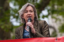 London, UK. 1st May, 2019. Liz Saville Roberts, Plaid Cymru MP for Dwyfor Meirionnydd, addresses climate protesters at a Declare A Climate Emergency Now demonstration in Parliament Square organised to coincide with a motion in the House of Commons to declare an environment and climate emergency tabled by Leader of the Opposition Jeremy Corbyn. The motion, which does not legally compel the Government to act, was passed without a vote.