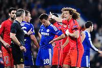 Bjorn Kuipers / David LUIZ - 11.03.2015 - Chelsea / Paris Saint Germain - 1/8Finale Champions League<br />Photo : Johnny Fidelin / Icon Sport
