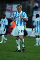 Photo: Alan Crowhurst.<br />Brighton & Hove Albion v Cardiff City. Coca Cola Championship. 15/10/2005. Paul McShane celebrates his goal for Brighton.
