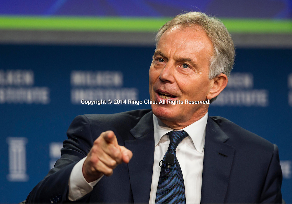 "Tony Blair, former Prime Minister of Great Britain and Northern Ireland, in a panel ""Global Overview: Where Does Growth Come From?"" during the Milken Institute Global Conference on Monday, April 28, 2014 in Beverly Hills, California. (Photo by Ringo Chiu/PHOTOFORMULA.com)"
