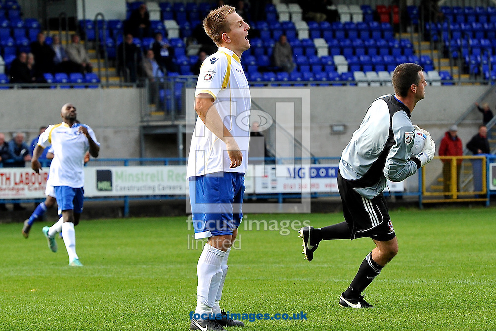Jake Reed of Lowestoft Town(centre) is disappointed after missing a chance during the Conference North match at Bower Fold, Stalybridge<br /> Picture by Ian Wadkins/Focus Images Ltd +44 7877 568959<br /> 12/09/2015