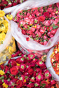 KADIRI, INDIA - 01st November 2019 - Flowers for sale at a market stall in Kadiri, Andhra Pradesh, South India