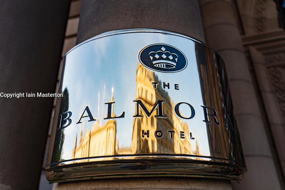Exterior plaque at Balmoral Hotel on Princes Street in Edinburgh, Scotland, UK