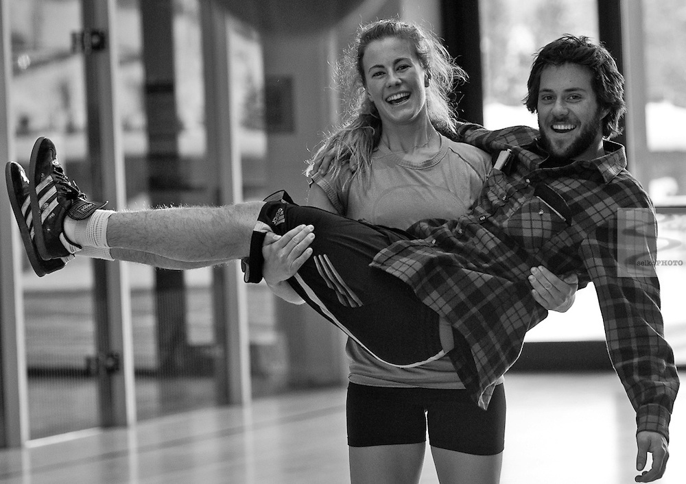 November 17, 2010 -Vail, CO: Jackson Hole Ski and Snowboard Club alumni Resi Stiegler and Max Hammer working out in Vail, CO.