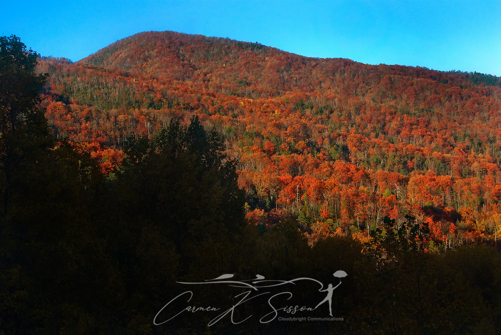 Leaves begin to change colors at Cumberland Gap in the Great Smoky Mountains. (Photo by Carmen K. Sisson/Cloudybright)