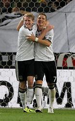 GER, Commerzbank Arena, GER, Stuttgart, FSP, LS, Deutschland (GER) vs Brasilien (BRA), im Bild .. Torjubel Andre Schürrle (GER/Bayer 04 Leverkusen) und Bastian Schweinsteiger (GER/FC Bayern München) zum 3:1 durch Andre Schürrle (GER/Bayer 04 Leverkusen) // durch the friendly ship between Germany (GER) vs Brasil (BRA) in Commerzbank Arena, Stuttgart, on 2011/08/11 EXPA Pictures © 2011, PhotoCredit: EXPA/ nph/  Hessland       ****** out of GER / CRO  / BEL ******