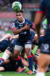 March 1, 2019 - Victoria, VIC, U.S. - MELBOURNE, AUSTRALIA - MARCH 01: Will Genia (9) of the Melbourne Rebels passes the ball at The Super Rugby match between Melbourne Rebels and Highlanders on March 01, 2019 at AAMI Park, VIC. (Photo by Speed Media/Icon Sportswire) (Credit Image: © Speed Media/Icon SMI via ZUMA Press)