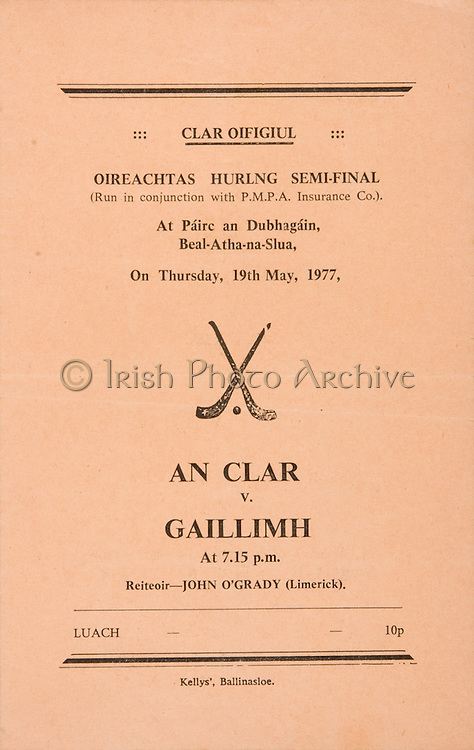 Oireachtas Hurling Semi Final.Clare v Galway.19.05.1977  19th May 1977.Ballinasloe