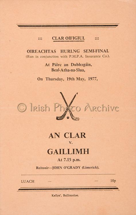 Oireachtas Hurling Semi Final.Clare v Galway.19.05.1977  19th May 1977.Ballinasloe