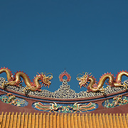 Ornate temple roof of a Chinese temple in Thailand