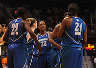 June 10, 2010; Phoenix, AZ, USA; Minnesota Lynx guard Monica Wright (22) talks with teammates during the first half in at US Airways Center.  Mandatory Credit: Jennifer Stewart-US PRESSWIRE