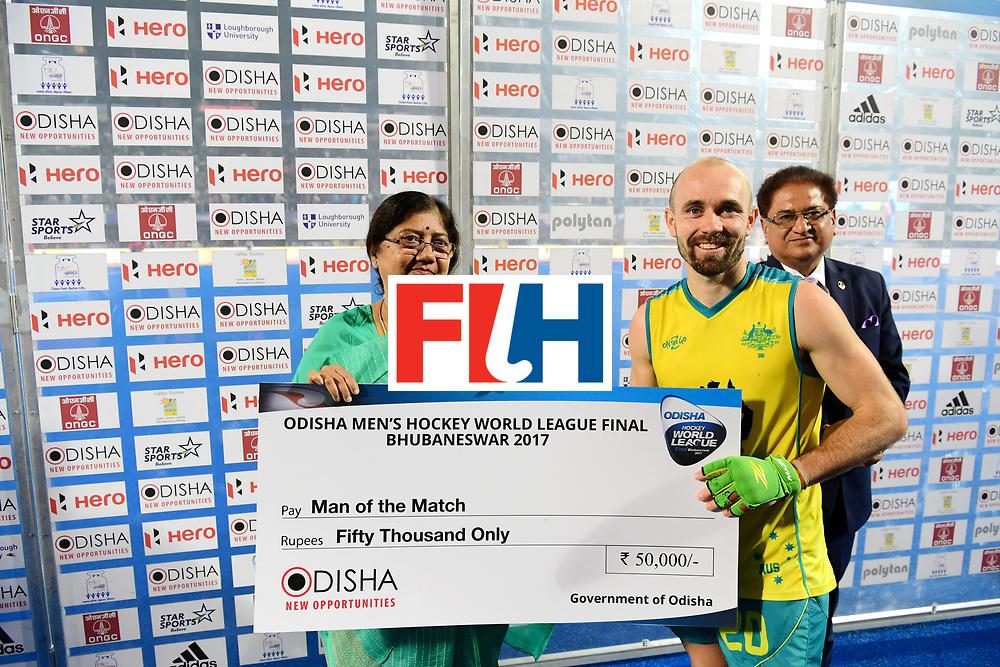 Odisha Men's Hockey World League Final Bhubaneswar 2017<br /> Match id:09<br /> Australia v England<br /> Foto: Player iof the matc h Matthew Swann (Aus) <br /> WORLDSPORTPICS COPYRIGHT FRANK UIJLENBROEK