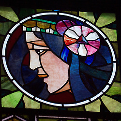 Detail of Art Nouveau stained glass panel on Municipal House or Obecni Dum in Prague in Czech Republic