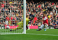 Football - 2019 / 2020 Premier League -  Arsenal vs. AFC Bournemouth<br /> <br /> Pierre - Emerick Aubameang of Arsenal fires the ball against the post in the last couple of minutes past the standed Bournemouth goalkeeper Ramsdale, at The Emirates Stadium.<br /> <br /> COLORSPORT/ANDREW COWIE